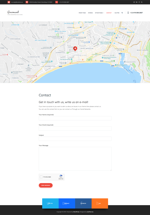 Contact page with header google map