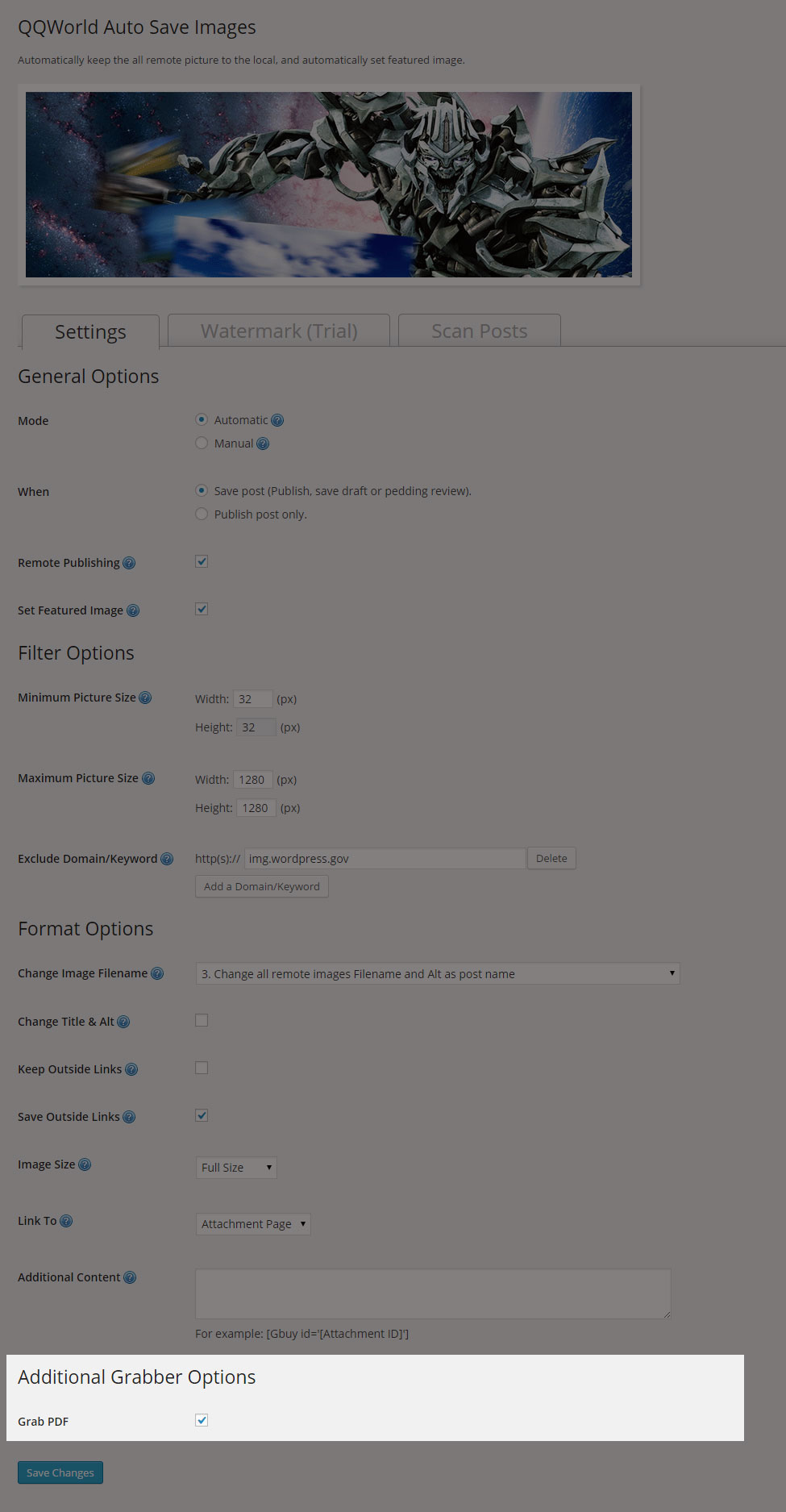 User interface - Settings