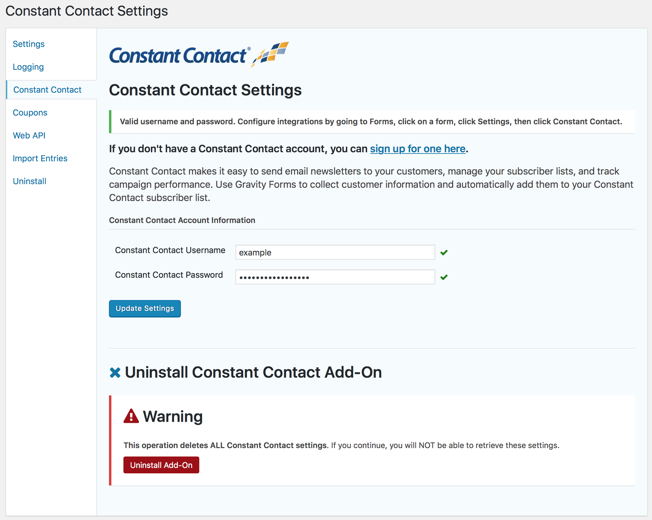 Gravity Forms Constant Contact — WordPress Plugins