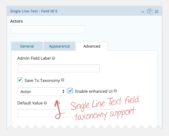 Setting: Mapping a Single Line Text field to a taxonomy (and enabling Enhanced UI)