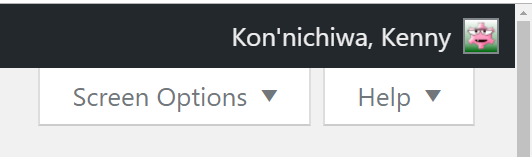 "Wordpress admin dashboard, showing ""Howdy, Kenny"" changed to ""Kon'nichiwa, Kenny""."