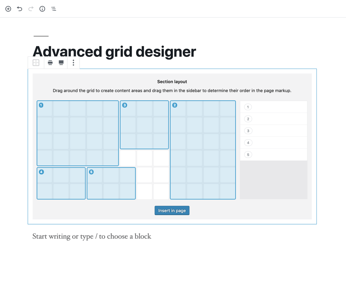 The advanced grid designer.