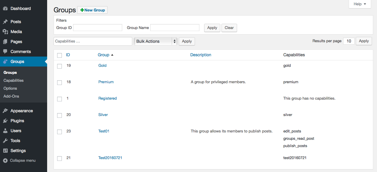 Groups - this is where you add and remove groups and assign capabilities to groups.