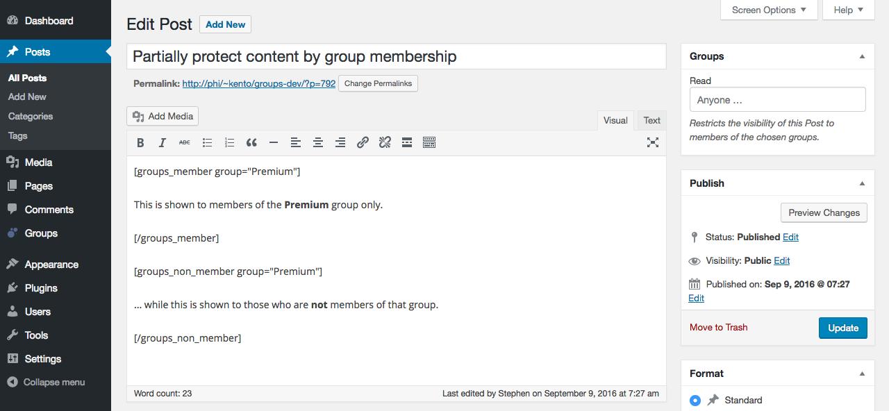 Groups – WordPress plugin | WordPress org
