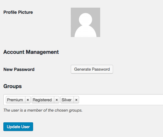 Groups a users belongs to shown in the user profile.