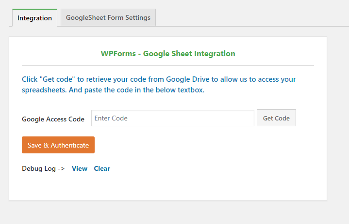 Installation step 3 - Google Sheets Connect Page.