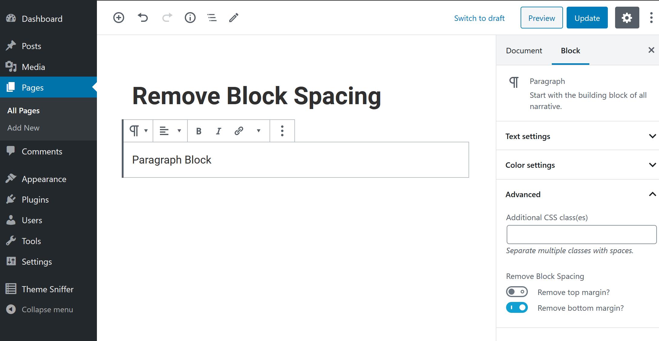 Remove Block Spacing settings1. Plugin Settings