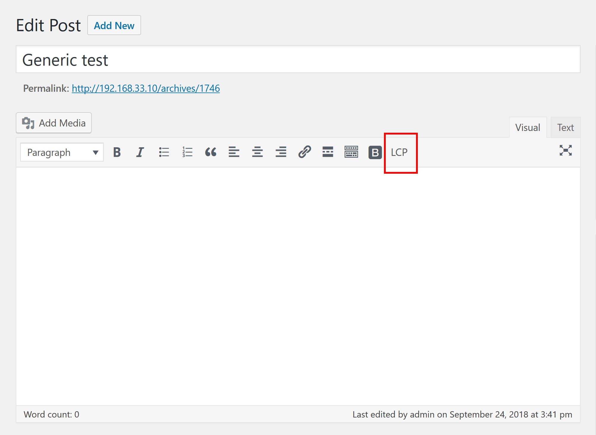 The 'LCP' button in WordPress editor. Works in text widgets, too.