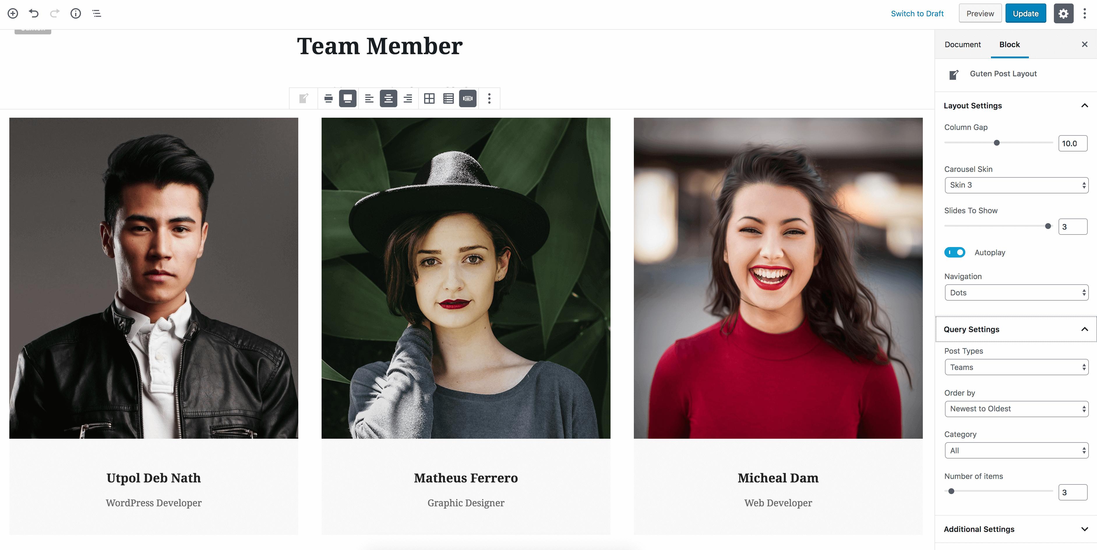 Team Post Type Example