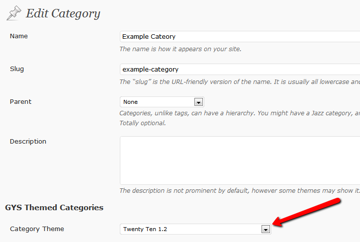 Select your theme under the category editor, and click Update. Simple!