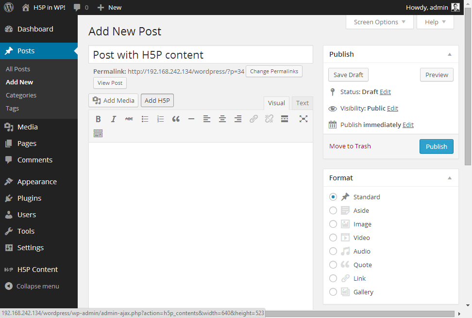 Press Add H5P to add interactive H5P content to posts