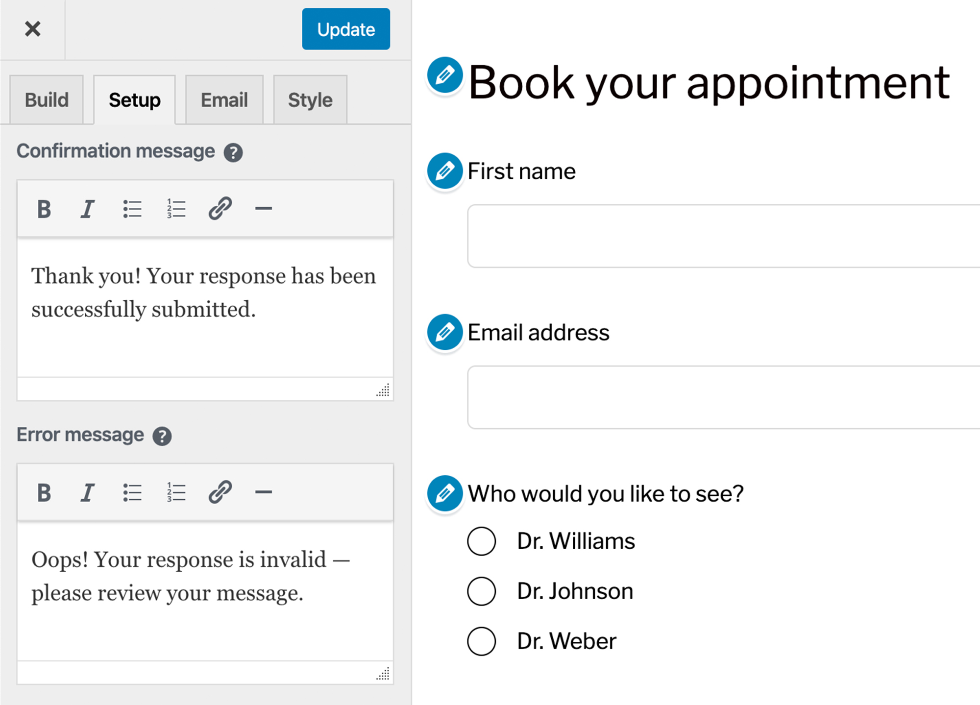 Contact Form to Manage and respond to conversations with customers