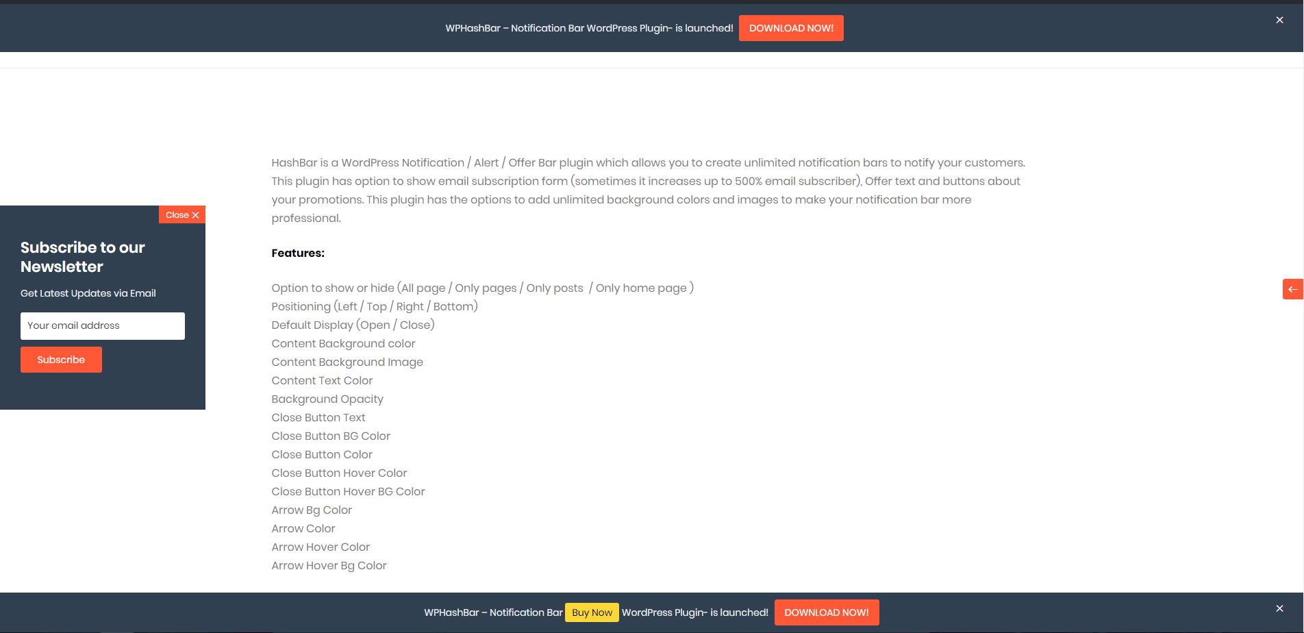HashBar – WordPress Notification Bar