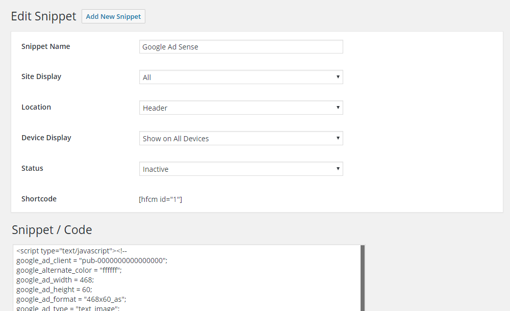 Add New Snippet - Read the documentation at: http://www.draftpress.com/docs/header-footer-code-manager