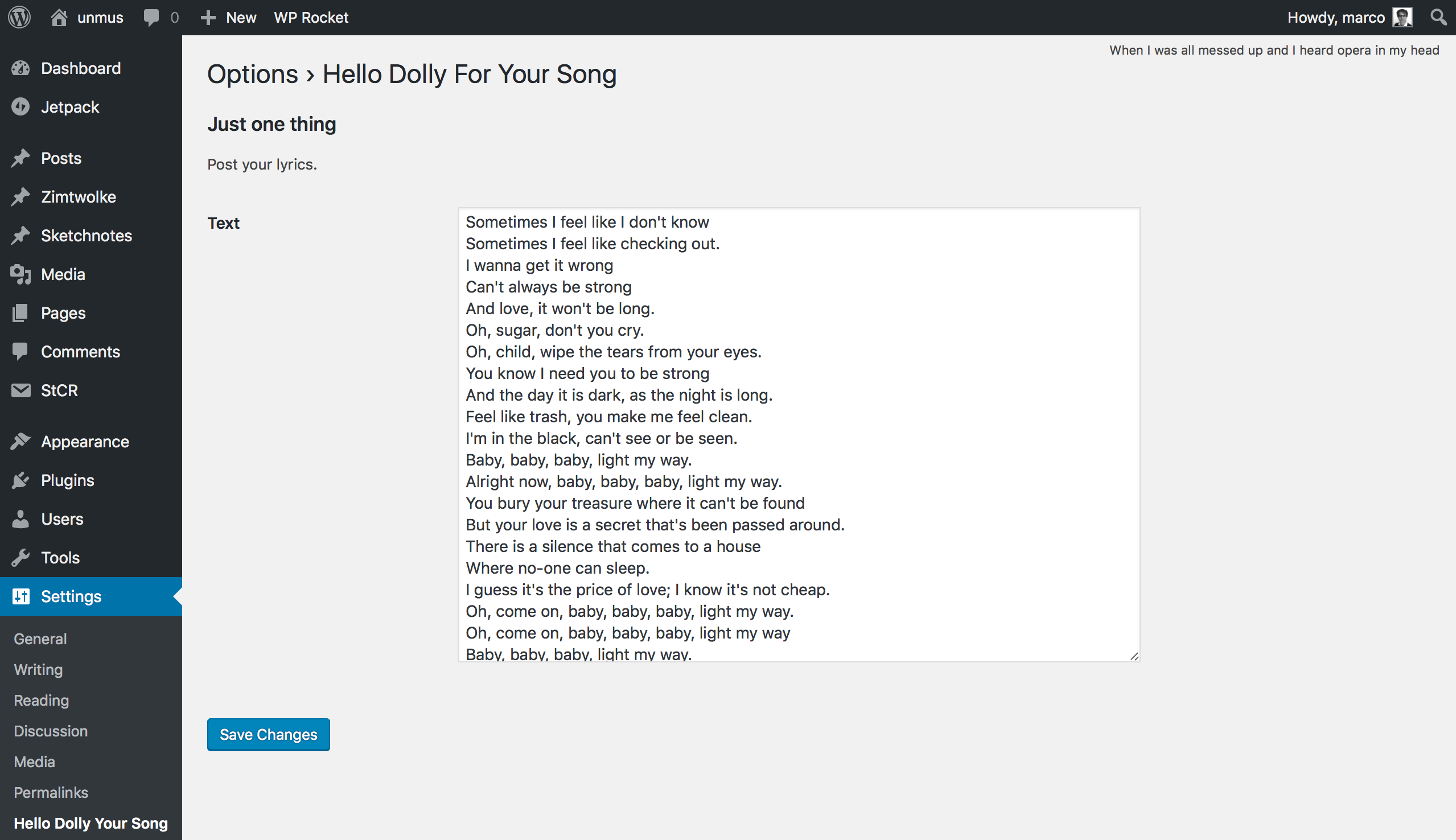 Display songtext in the admin head