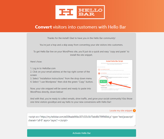 The Hello Bar for WordPress interface. A dead simple place to put your HelloBar code.