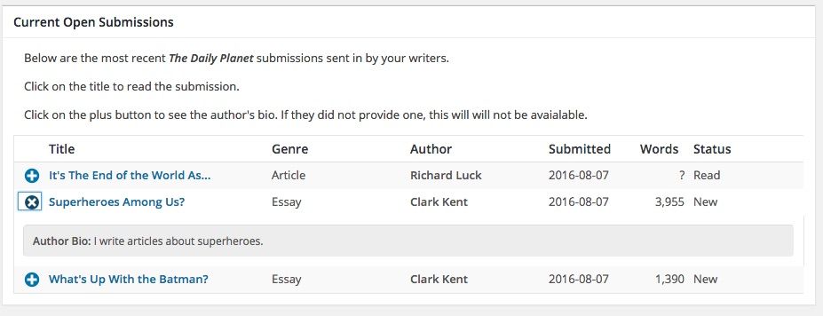 Open Submissions.  From this screen you can view and manage the submissions received by your publication.  Clicking on the plus icon will display the author's bio, if they have provided one.  Clicking on the title of the submission will allow you to 'preview' the submission.