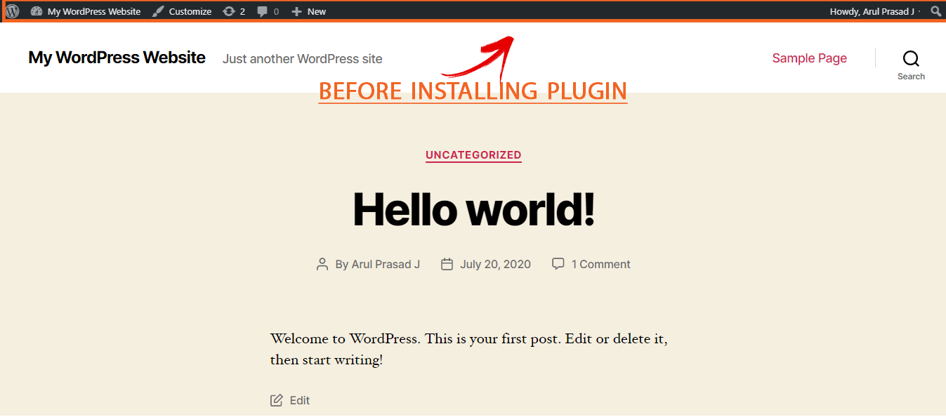Site without Hide Front End WP Admin bar plugin