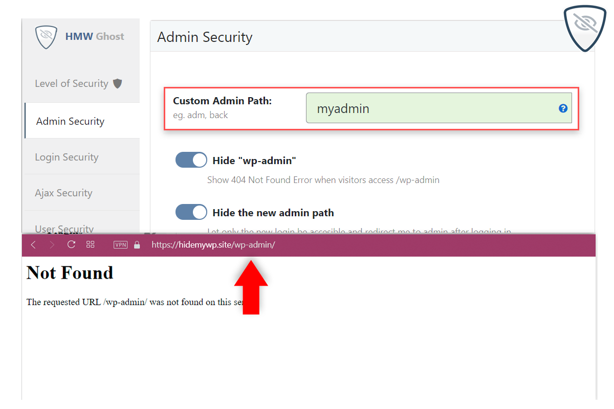 Choose the desired level of Security for your site