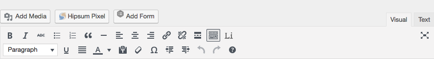 Hipsum Pixel button on WordPress editor