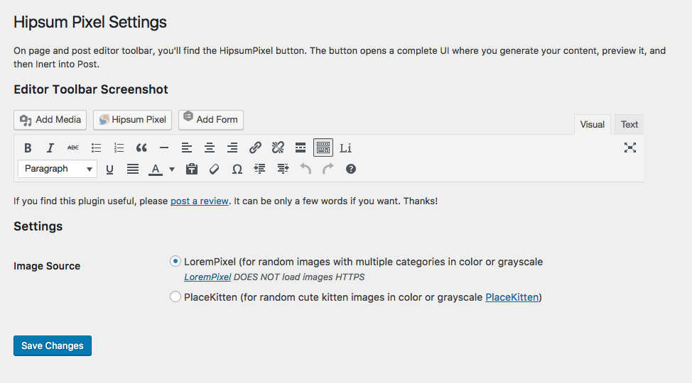 Hipsum Pixel Setting page