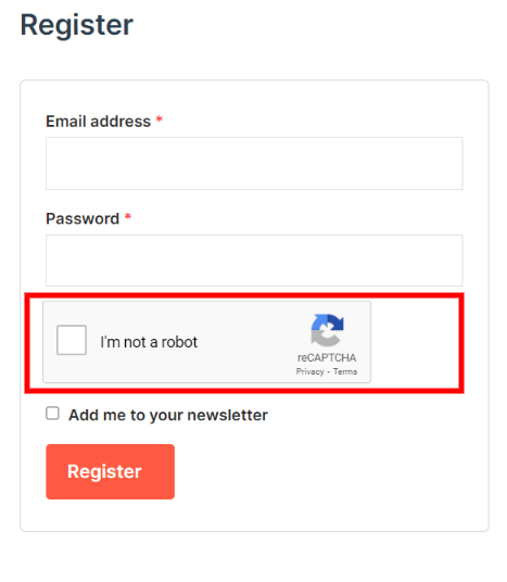 WooCommerce registration form Google reCAPTCHA.
