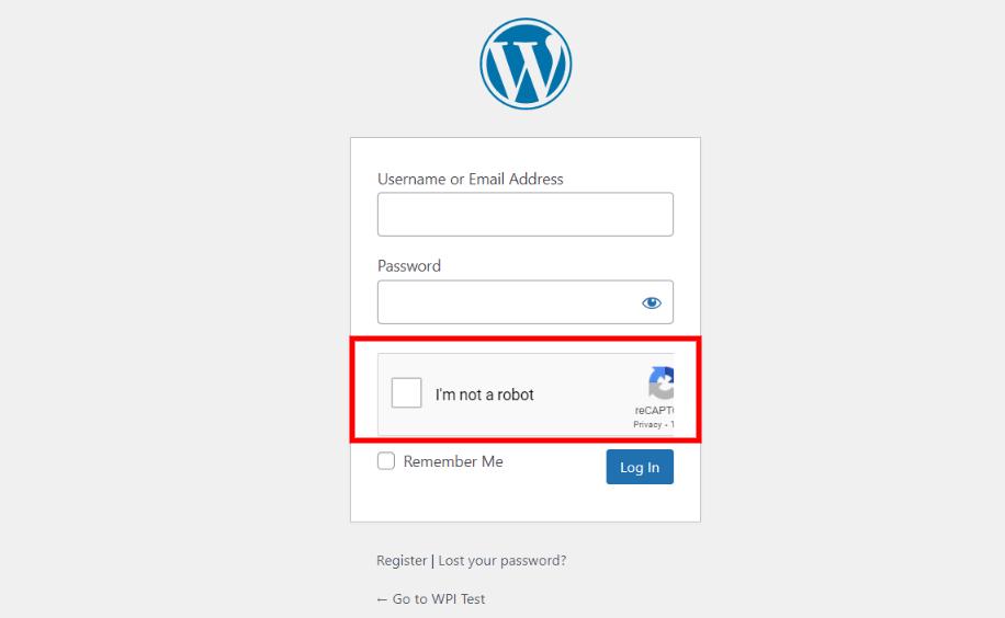 WordPress login form Google reCAPTCHA.