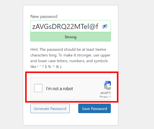 WordPress reset password form Google reCAPTCHA.