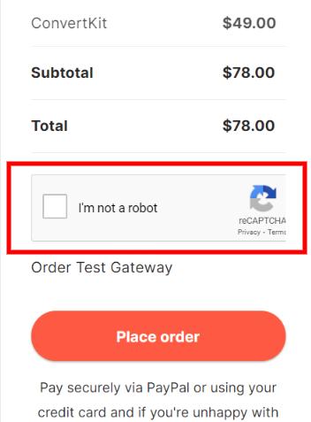 WooCommerce checkout form Google reCAPTCHA.