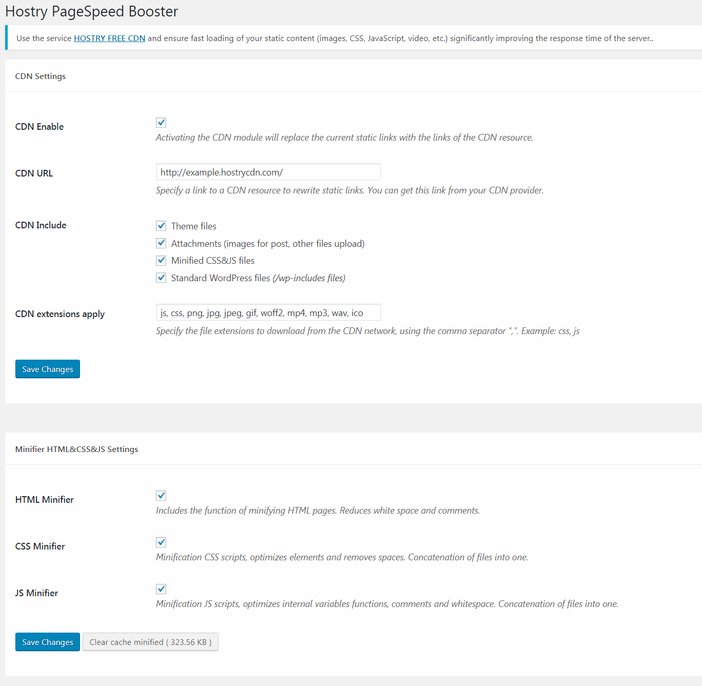 Hostry PageSpeed Booster - Settings page