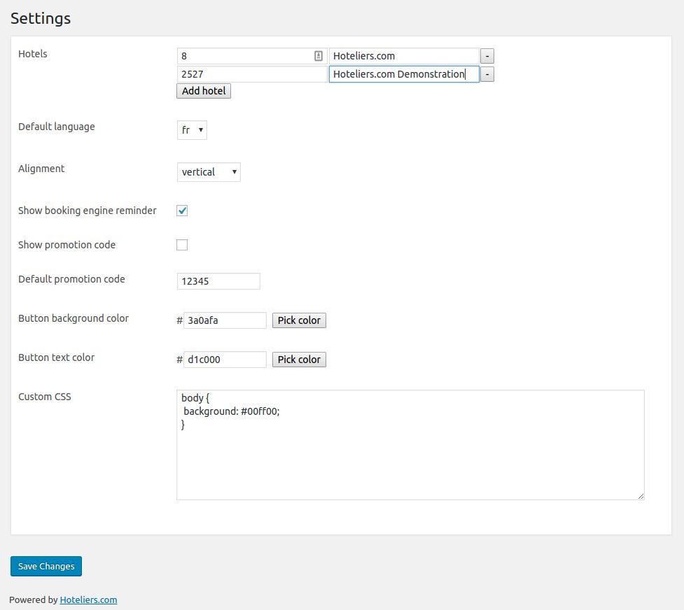 Admin settings panel