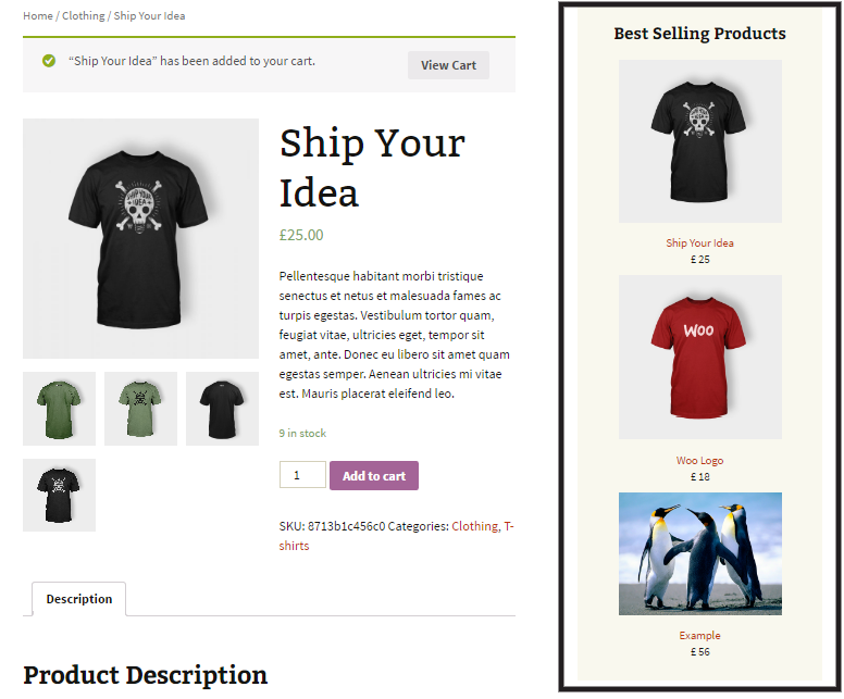 Best selling Product front end look