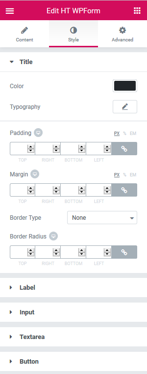 Elementor Addons Styling Options