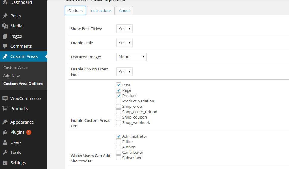 The custom areas option page