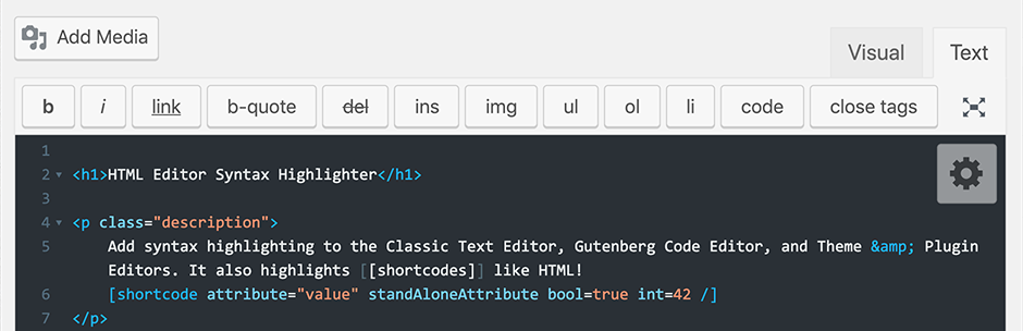 HTML Editor Syntax Highlighter | WordPress.org