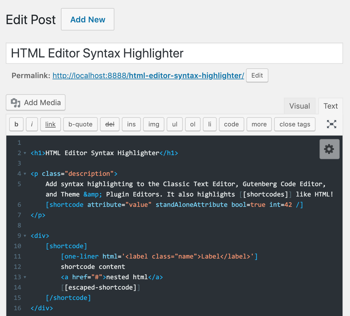 HTML Editor Syntax Highlighter – WordPress plugin