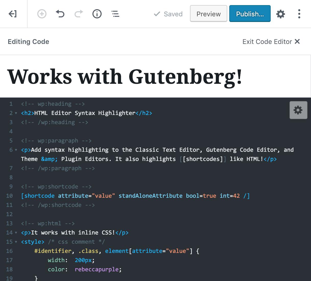 HTML Editor Syntax Highlighter – WordPress plugin