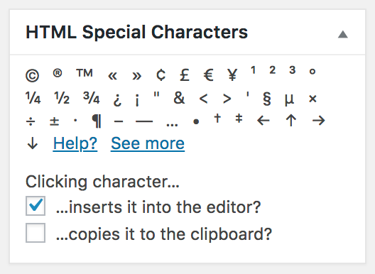A screenshot of the HTML Special Characters admin widget in its default state