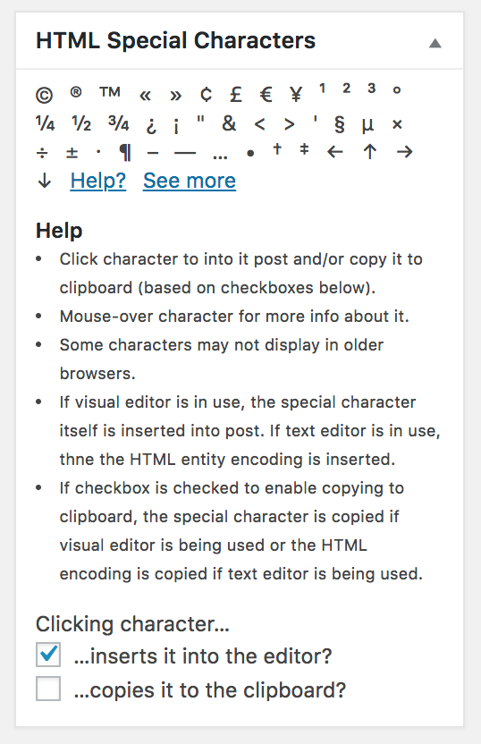 "A screenshot of the HTML Special Characters admin widget after ""Help?"" is clicked"