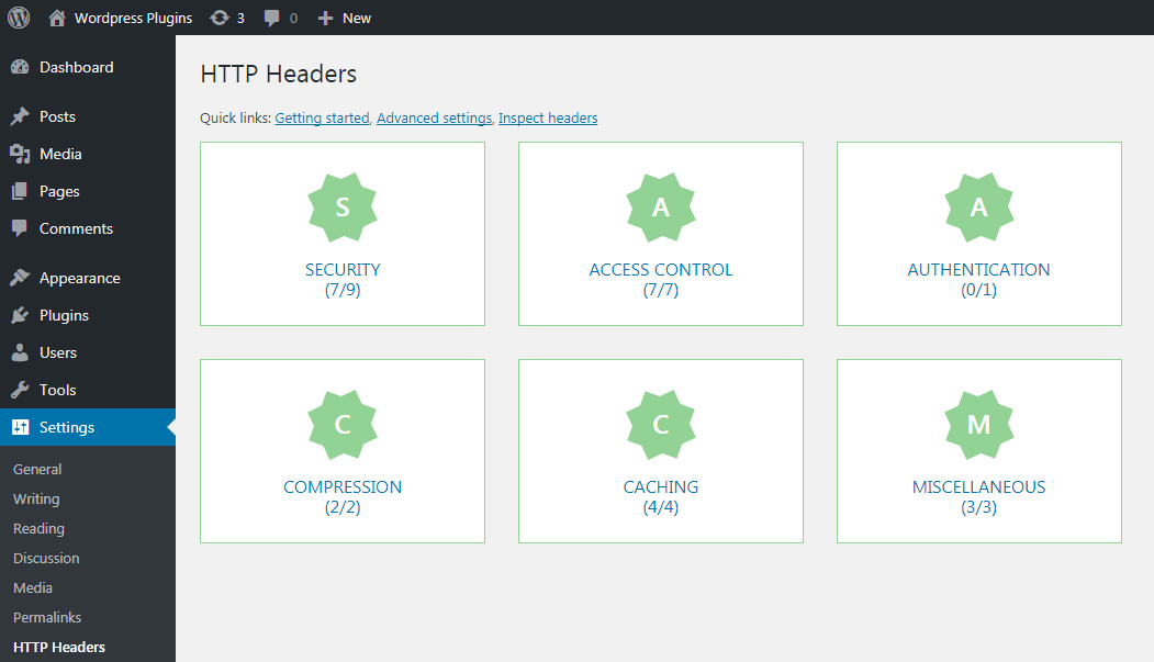 This screenshot shows up the dashboard with categories of the supported headers.