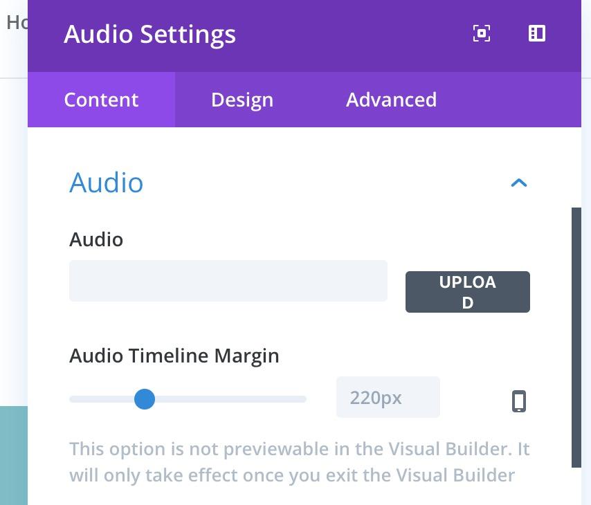 New Audio setting 'Audio Timeline Margin' in 'Content' tab.