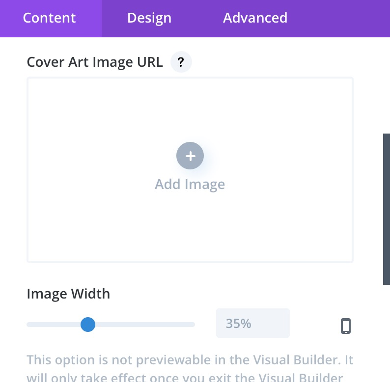 New Audio setting 'Image Width' in 'Content' tab.