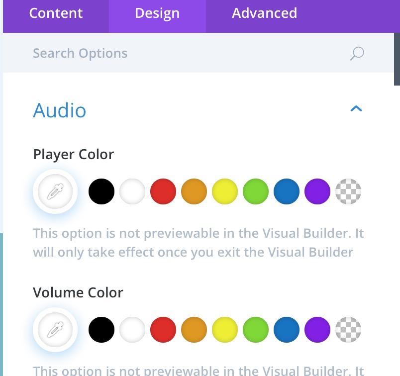 New Audio settings in 'Design' tab(1).