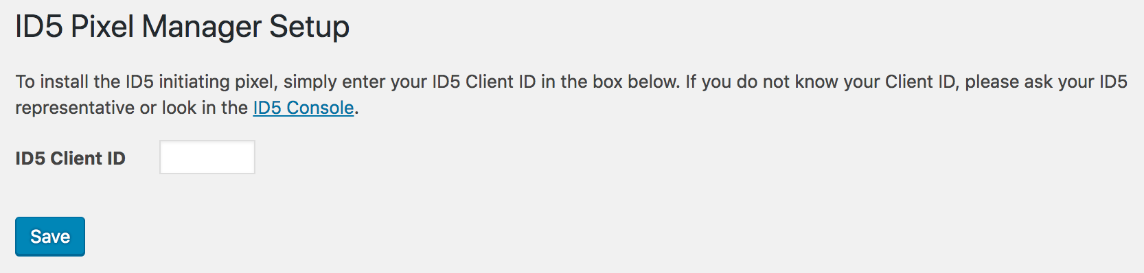 Head to the settings page where you'll be able to enter your ID5 Account Number