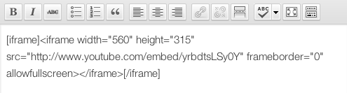 Paste your iframe code right into the visual editor, enclosed within the [iframe] shortcode.