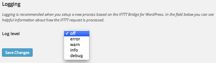 Use the logging to track how the IFTTT request is processed or to find (configuration) errors