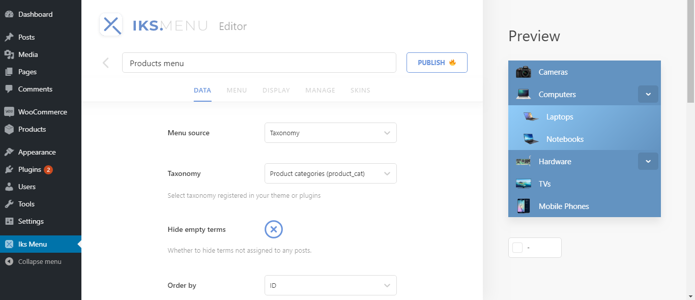 Iks Menu – WordPress Category Accordion Menu