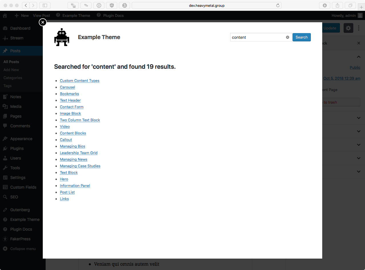 Integrated documentation search.
