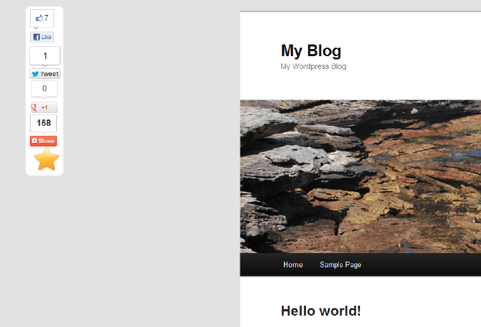 Demo page, plugin positioned on the left side (floating)