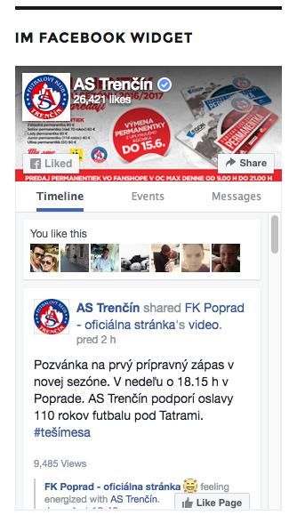 Widget - IM Facebook Page Plugin in front-end.